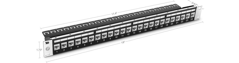 Paneles de conexión cat6a Panel de conexión feed-through de 24 puertos STP Cat6a