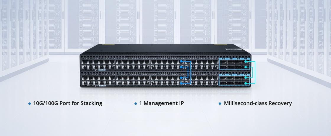 Switches 1G/10G Apilamiento físico de puertos múltiples hasta 1T