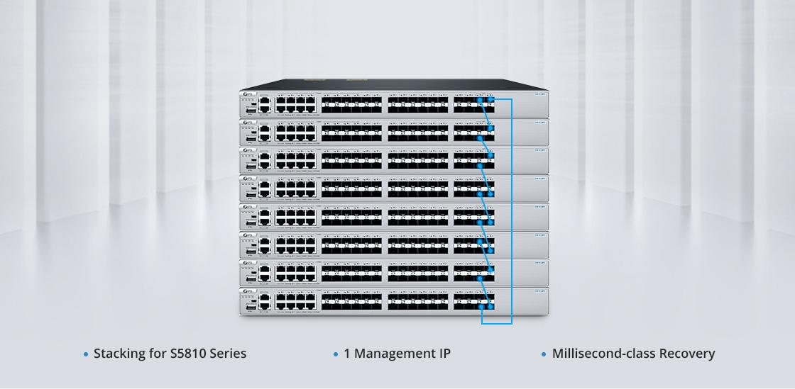 Switches 1G/10G Apilamiento físico de 8 unidades