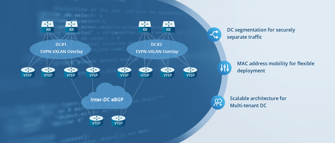 10G Switches EVPN-VXLAN Overlay Network for Data Center Interconnect