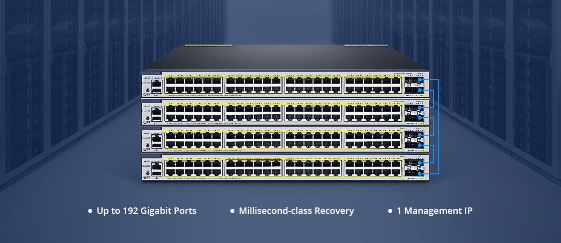 Switches 1G/10G Apilamiento físico de 4 unidades