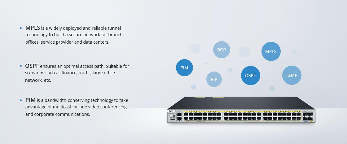 Switches 1G/10G Protocolos de capa 3 mejorados para diversos escenarios