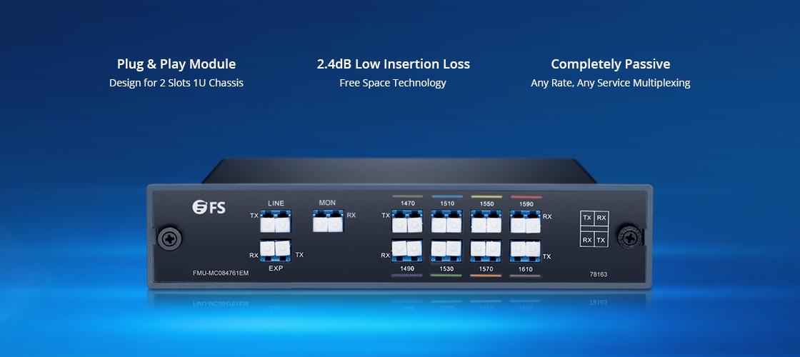 CWDM Mux Demux Kosteneffiziente 8 Kanäle über Doppelfaser