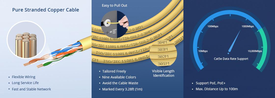 Bobinas de cable de red cat5e De alta calidad y fácil de usar