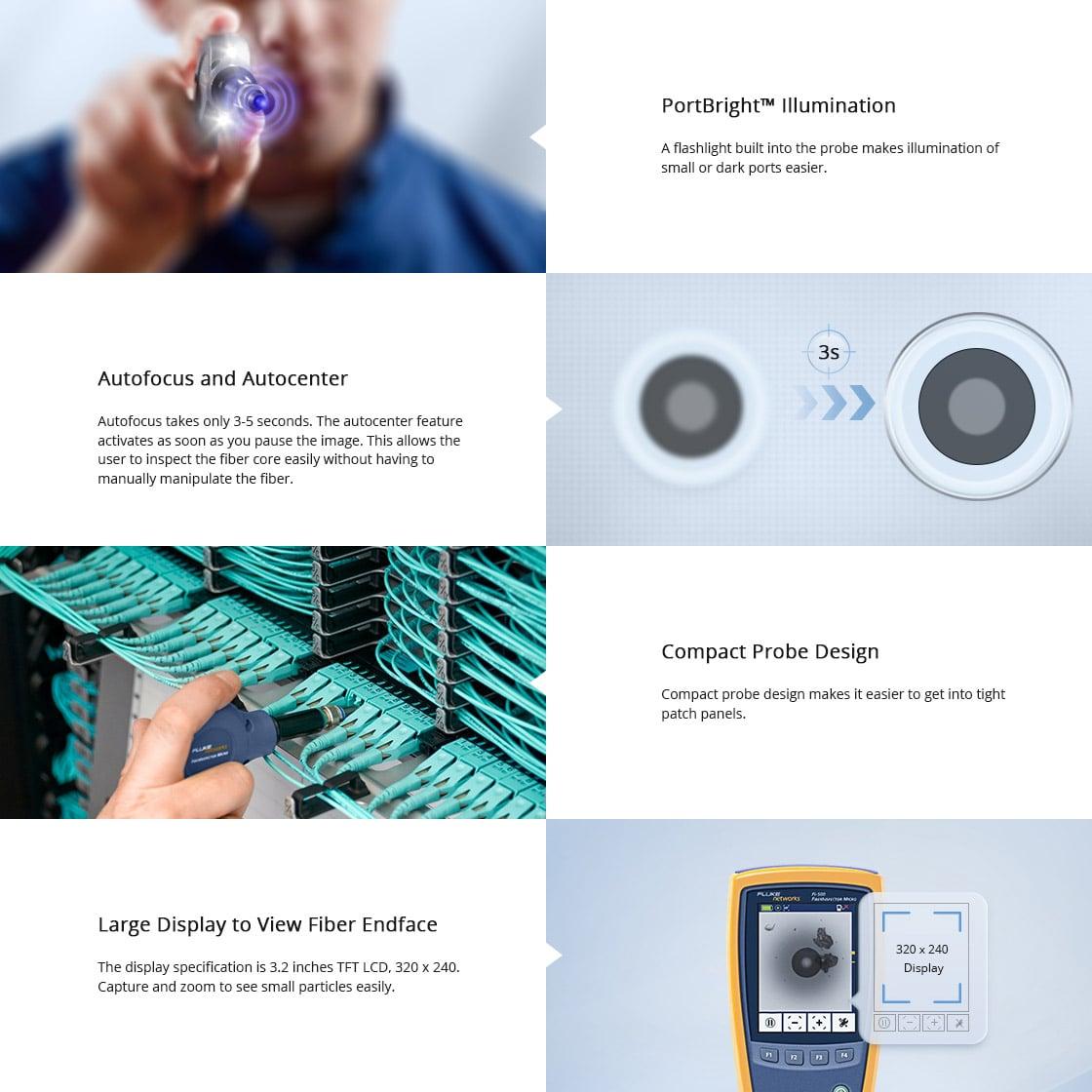 光ファイバ検査装置 FI-500FiberInspector™マイクロファイバ検査スコープカメラの重要な利点