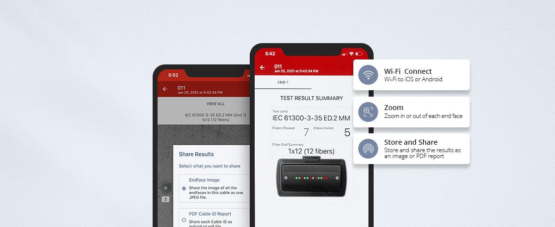 Inspección de fibra óptica Aplicación de iOS y Android (FI-IN) para compartir datos de forma sencilla