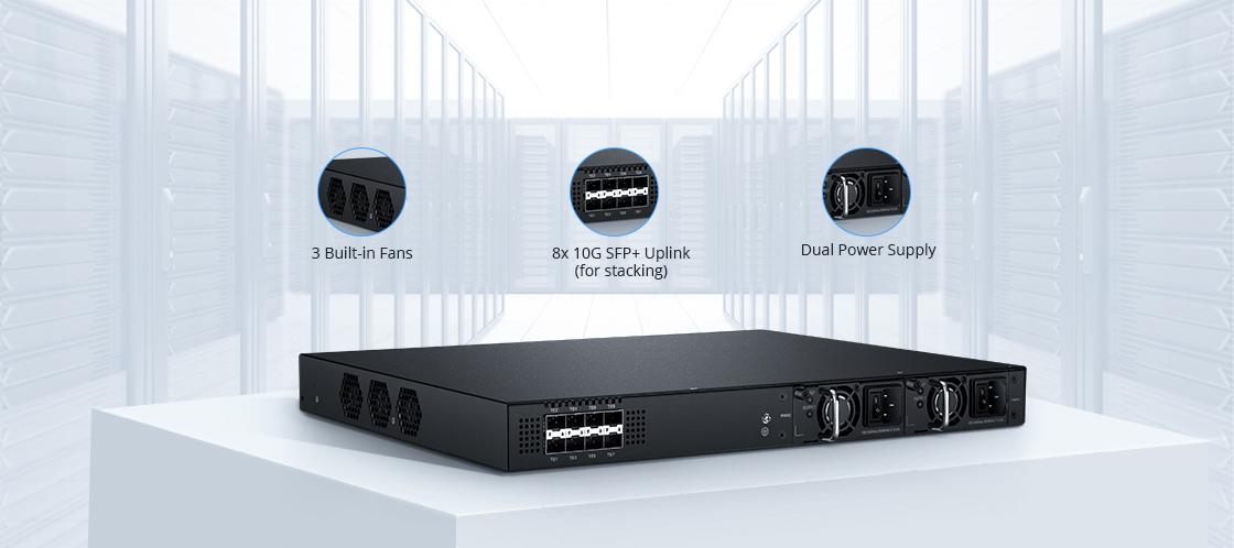 Switches 1G/10G Fuentes de alimentación dobles y ventiladores integrados