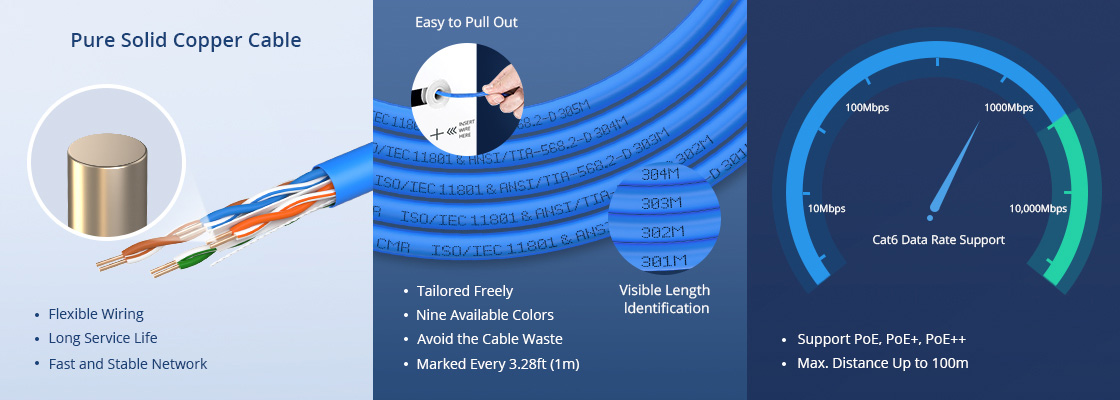 Cat6 LANバルクケーブル 高信頼品質とユーザーフレンドリーなデザイン