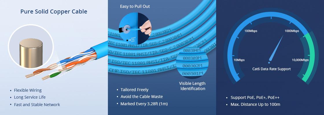 Cat6 Câbles Ethernet en Vrac Une Qualité Fiable et Une Conception Ergonomique