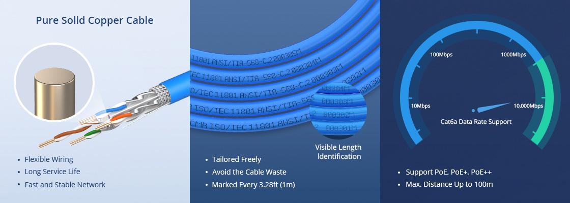 Cat6a Câbles Ethernet en Vrac Une Qualité Fiable et Une Conception Ergonomique