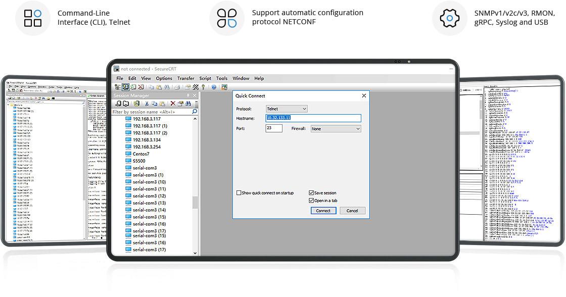 10Gスイッチ 柔軟な管理と監視