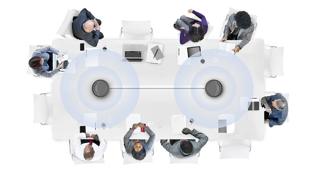 Micrófono para videoconferencia Conexión en cadena para hasta 12 participantes