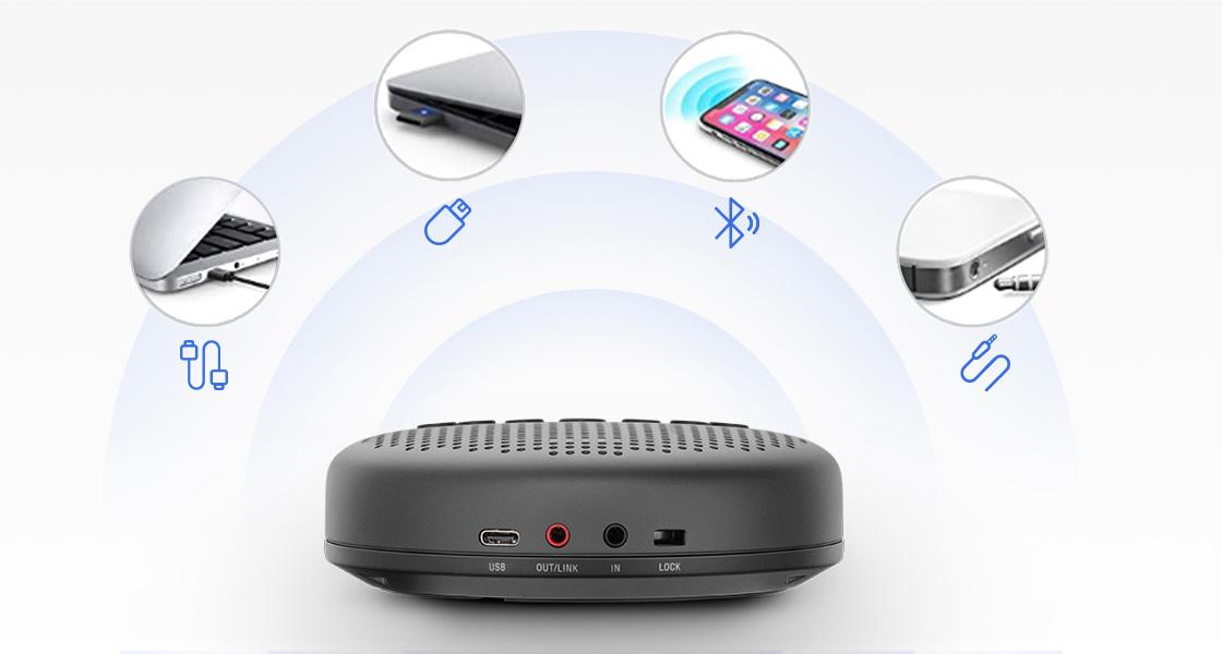 Micrófono para videoconferencia Múltiples modos de conexión disponibles
