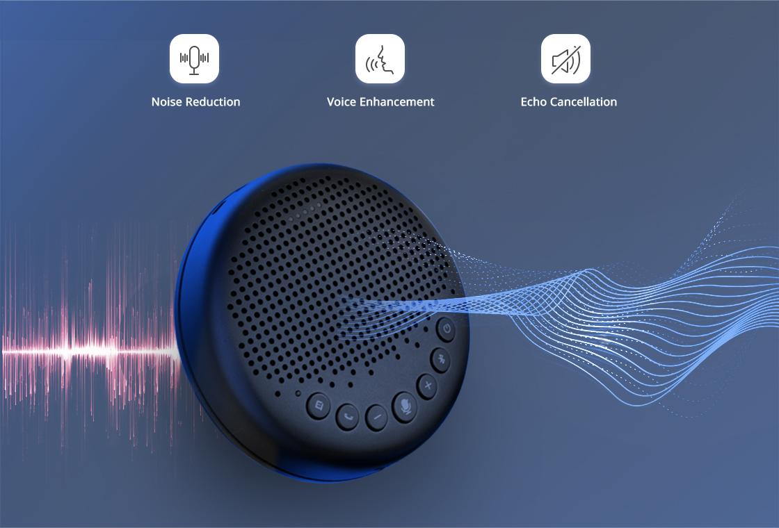 Micrófono para videoconferencia Ofrece audio que llena la habitación y que suena natural con el algoritmo VoiceIA™