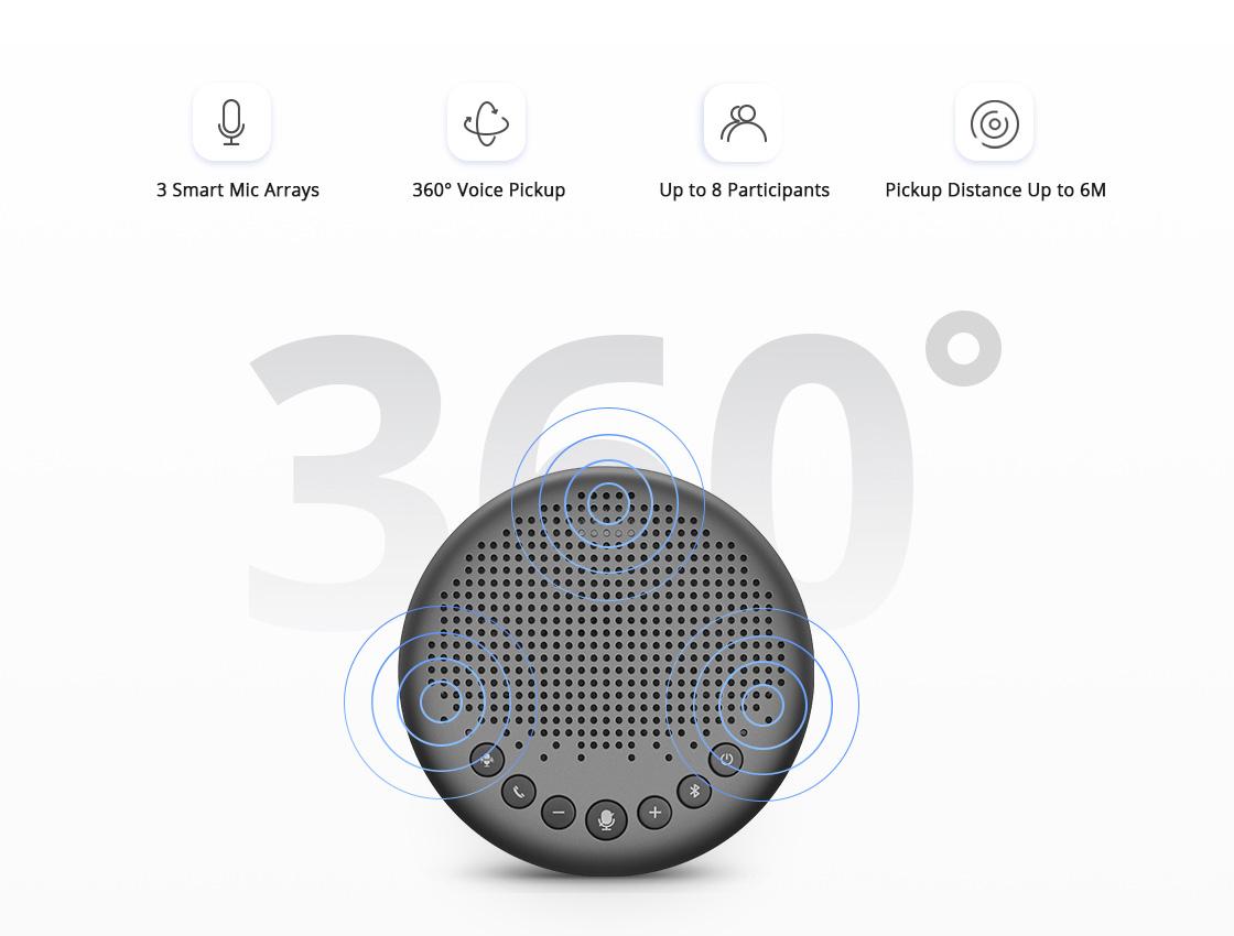 Micrófono para videoconferencia Micrófonos omnidireccionales dúplex completo recogen la voz desde cualquier ángulo
