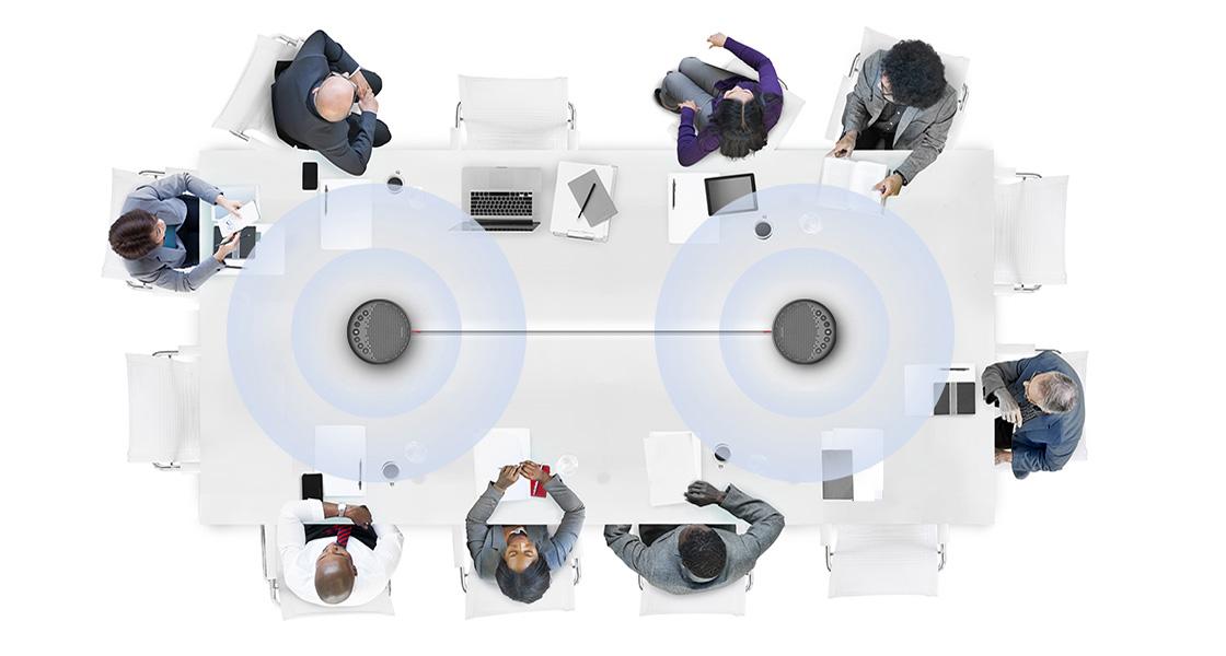 Haut-Parleurs Enchaînez Deux SP630 pour Augmenter l'Espace pour les Réunions de Conférence