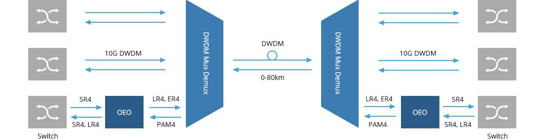 Transpondedor (OEO) 10G/25G/100G Aplicación de la transmisión de 100G