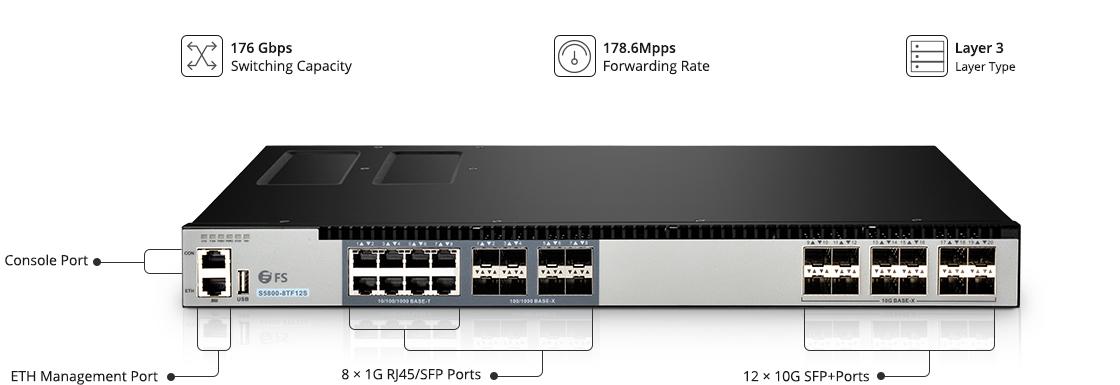 Switch 1G/10G Switch d'Accès Gigabit LAN avec Liaisons Montantes 10G