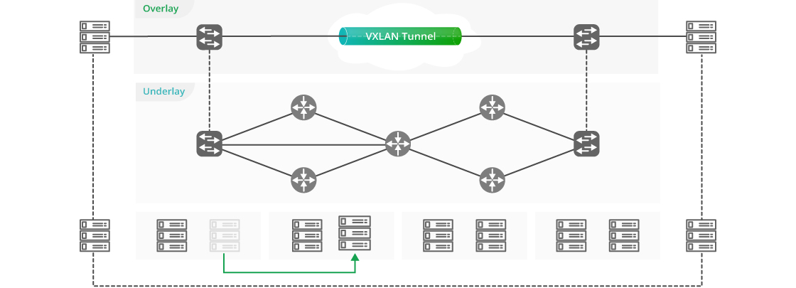 100G Switches EVPN-VXLAN Achieves Layer 2 Virtual Network Fabric Dynamically