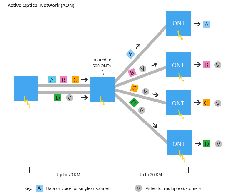 aon network, AON vs PON