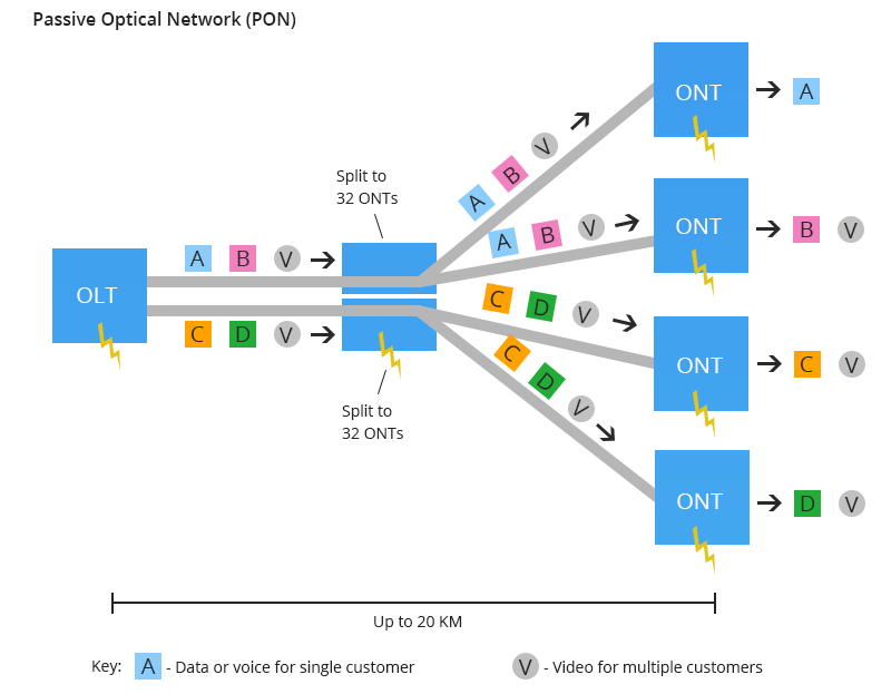 PON network, AON vs PON
