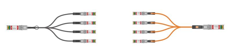 Figure 1: FS 40G QSFP+ to 4x SFP+ DAC/AOC