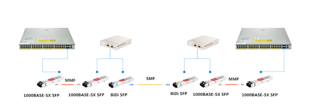 BiDi SFP transceivers are connected with OEO converters.