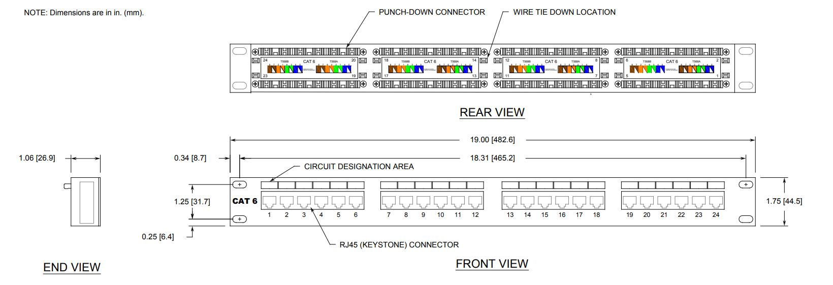 24 Port Patch Panel Dimensions