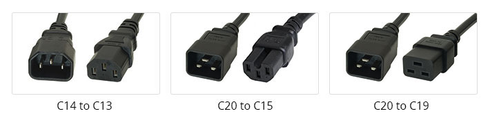 Common C13, C15, C19 power cords