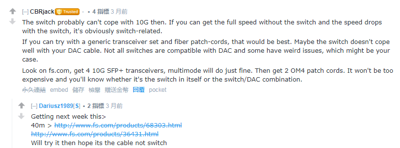 FS optical transceiver comment