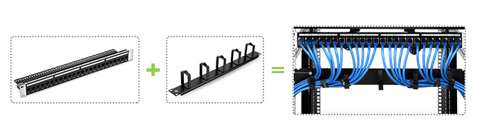 Ethernet Patch Panel + Horizontal Cable Manager with D-rings