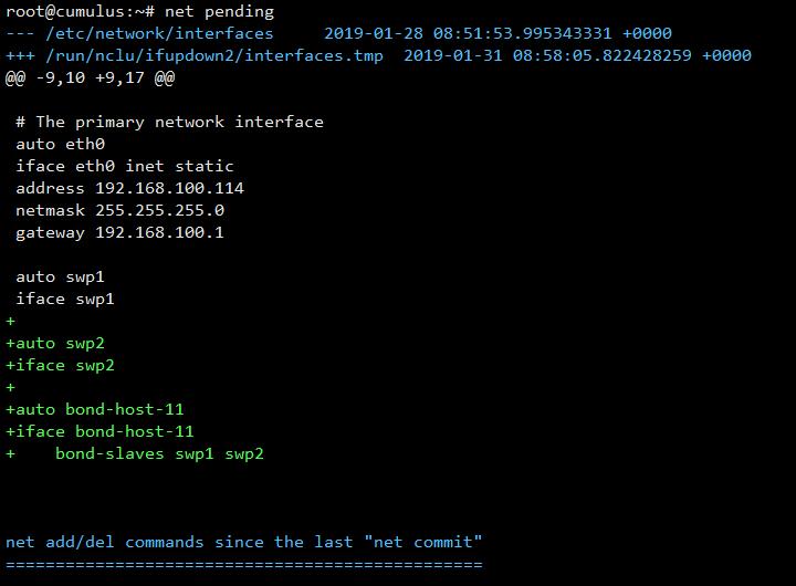 net pending Cumulus Linux