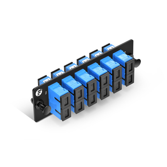 Fiber Adapter Panel with 6 SC Duplex OS2 Single Mode Adapters (Blue), Zirconia Ceramic