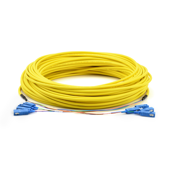 10m (33ft) 12 Fibers SC UPC to SC UPC 2.0mm PVC 9/125 Single Mode Indoor Tight-Buffered Multi-Fiber Breakout Cable