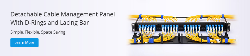 Horizontal cable management panel with D-ring and lacing bar
