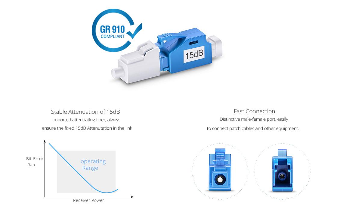 Atenuador de Fibra Óptica  Atenuador fijo de fibra óptica LC/UPC monomodo, 15dB