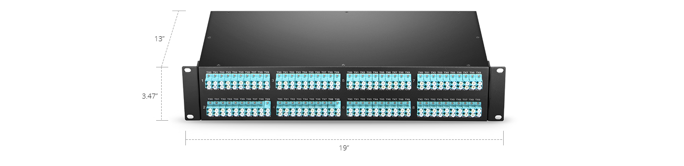 MTP/MPO-LC Patch Panels  High-effective Management - Only 2U for 100G to 10G Transmitting
