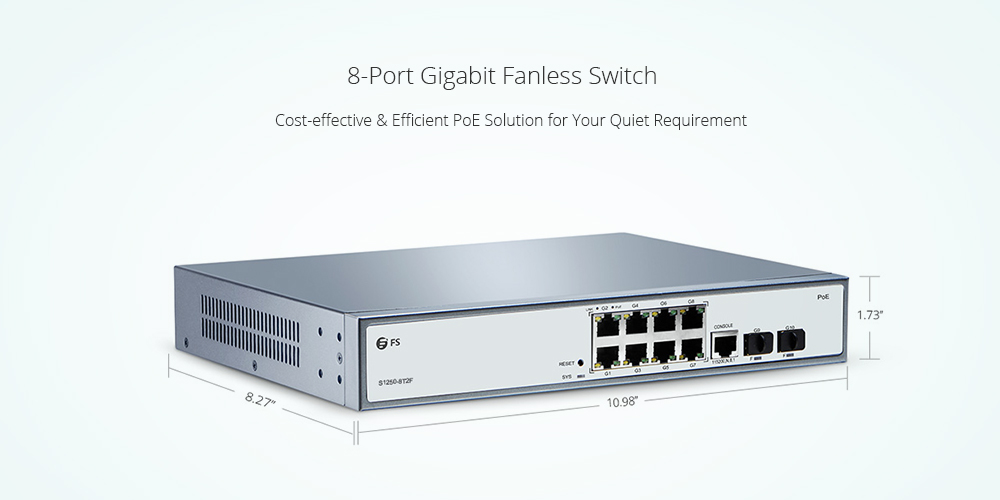 8 port fanless poe switch