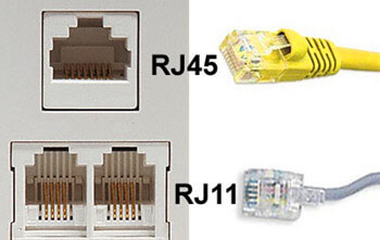 RJ-11 and RJ-45 connectors