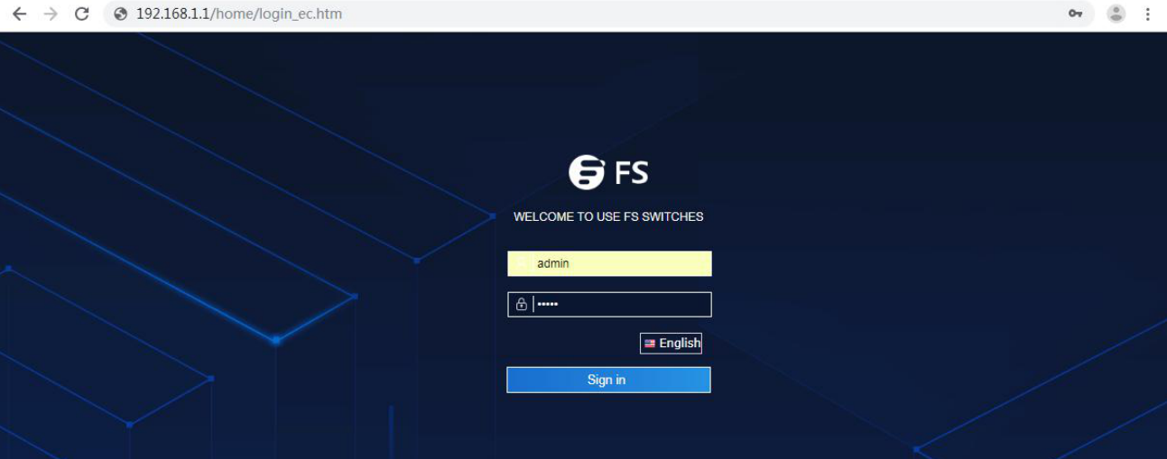 Web Initial Interface of FS 3900-24F4S Switch