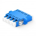 LC/UPC to LC/UPC Quad Single Mode Plastic Fiber Optic Adapter/Coupler with Flange