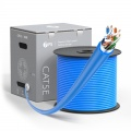 Cat5e Ethernet Bulk Cable, 1000ft (305m), UL Listed, 26AWG Stranded Pure Bare Copper Wire, 350MHz, Shielded (F/UTP), PVC CM (Blue)