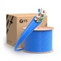 Cat6a Câble Ethernet en Vrac, 1000ft, 23AWG Fil de Cuivre Pur Nu Solide, 750MHz, Non Blindé (UTP), PVC CMR (Bleu)