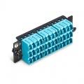 FHD Fibre Adapter Panel, 36 Fibres OM4 MultiMode, 18x LC UPC Duplex (Aqua) Adapter, Ceramic Sleeve