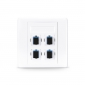 4-Port SC Simplex UPC OS2 Single Mode Fiber Optic Wall Plate Outlet, Straight