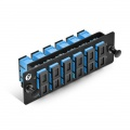 FHD Fibre Adapter Panel, 12 Fibres OS2 Single Mode, 6x SC UPC Duplex (Blue) Adapter, Ceramic Sleeve
