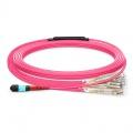 10m (33ft) Câble Breakout MTP® Femelle vers 12 LC UPC Duplex 24 Fibres OM4 50/125 Multimode, Type B, LSZH, Aqua