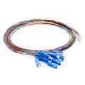 1m (3ft) 12芯 SC/UPC シングルモード 色分けピッグテール光ファイバケーブル(ジャケットなし、9/125)