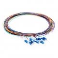 1m (3ft) 12芯 LC/UPC シングルモード 色分けピッグテール光ファイバケーブル(ジャケットなし、9/125)