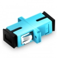 SC/UPC to SC/UPC 10G Simplex OM3 Multimode Plastic Fibre Optic Adapter/Mating Sleeve with Flange, Aqua
